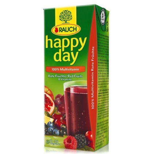 Happy Day gyümölcslé multivitamin piros gyümölcsös 100% 0,2l