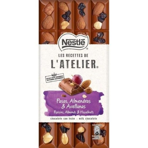 Nestlé L'Atelier táblás csokoládé mazsola mogyoró mandula 170g
