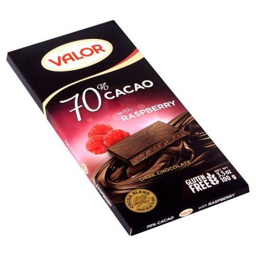 Valor táblás étcsokoládé málnás 70% 100g