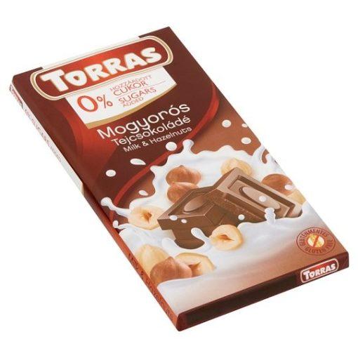 Torras mogyorós tejcsokoládé hozzáadott cukor nélkül 75g