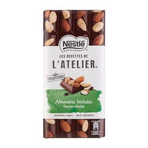 Nestlé L'Atelier táblás étcsokoládé egész mandulával 170g
