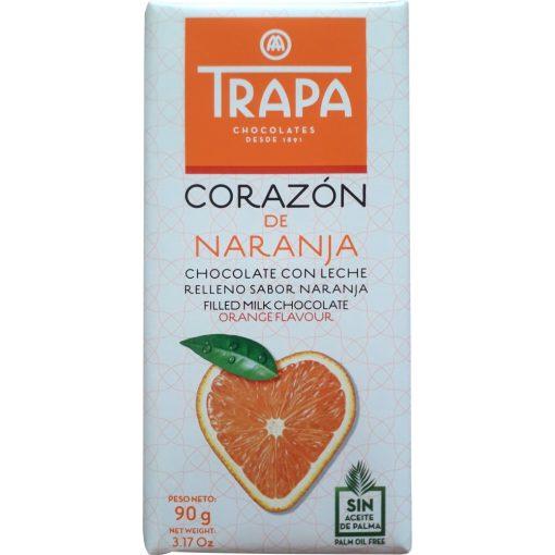 Trapa Corazón tejcsokoládé narancs ízű töltelékkel 90g