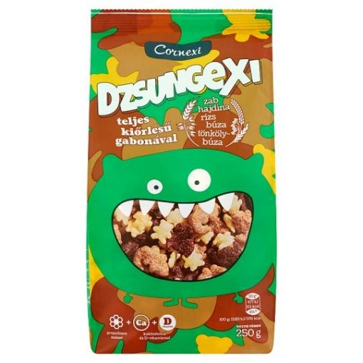 Cornexi Dzsungexi gabonapehely teljes kiőrlésű gabonával Ca+D vitamin 250g