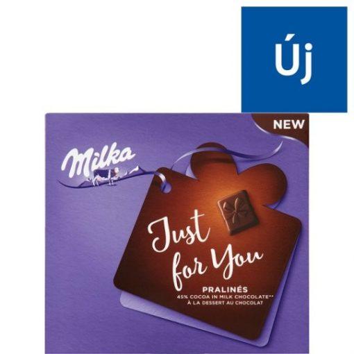 Milka Just For You magas kakaótartalmú tejcsokoládé praliné kakaós krémtöltelékkel 110 g