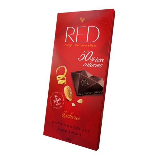 Red csökkentett kalóriatartalmú étcsokoládé narancsos mandulás 100g