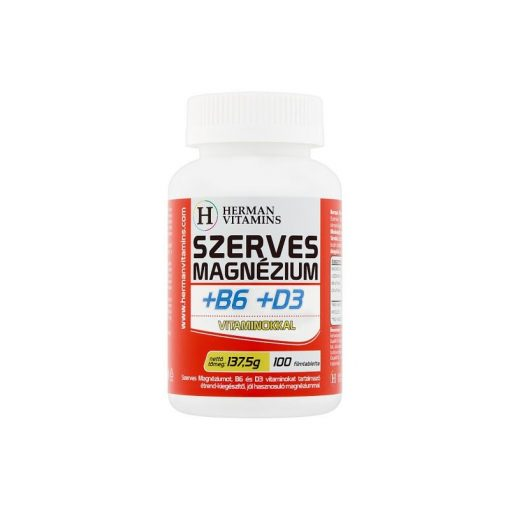 Herman Szerves Magnézium +B6+D3 vitamin 100db filmtabletta