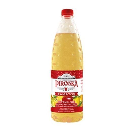 Piroska citrus-mix ízű gyümölcsszörp cukorral és édesítőszerrel 1 l