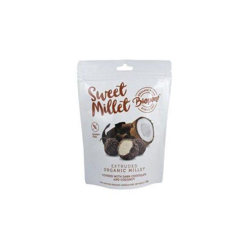 Biopont Sweet Millet extrudált bio köles étcsokiládé kókusz 55g